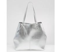 Strukturierte Shopper-Tasche in Metallic Grau
