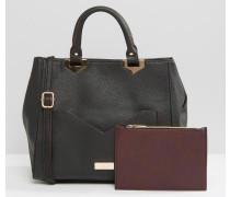 Tragetasche mit kontrastierender Tasche Schwarz