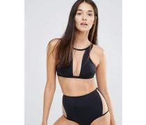 Bikinioberteil mit Netzeinsatz Schwarz