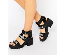 Grobe Sandalen mit Schnalle und Absatz Schwarz