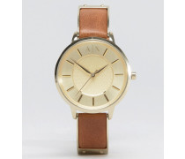 Olivia AX5314 Armbanduhr mit hellbraunem Lederarmband Braun