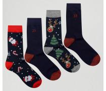 Socken mit Weihnachtsmotiven im 4er-Pack Mehrfarbig
