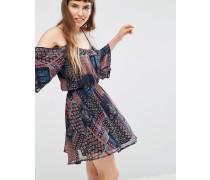 Kleid mit Schulteraussparungen im Patchworkdesign Mehrfarbig