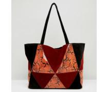 Patchwork-Shopper-Tasche aus Wildleder mit Schlangen-Optik Rot