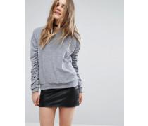 Pullover mit gerafften Ärmeln Grau