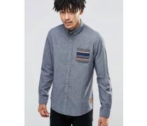 Hemd mit gemusterter Kontrasttasche Grau
