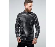 Schmales elegantes Hemd mit Diamanthemd Schwarz
