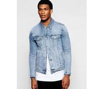Enge Jeansjacke in mittlerer Waschung Blau