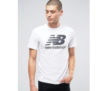 MT63554_WT Klassisches weißes T-Shirt mit Logo Weiß