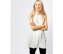 Ärmellose Bluse mit Schlitz vorne Weiß