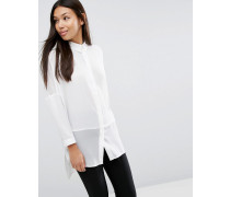 Oversized-Bluse mit transparenten Einsätzen Weiß