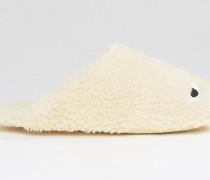 Hausschuhe aus Lammfellimitat mit Augen-Desing Weiß