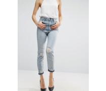 FARLEIGH Schmale Mom-Jeans mit hohem Bund in heller Annabelle-Stone-Waschung und Knien in Used-Optik Blau