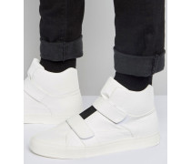 Knöchelhohe Sneaker in Weiß mit Elastikeinsatz und Riemen Weiß
