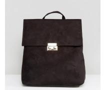 Mini-Rucksack mit Umschlagklappe Schwarz