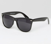 Eckige Sonnenbrille Schwarz