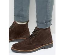 Braune Budapester-Stiefel aus Wildleder Braun