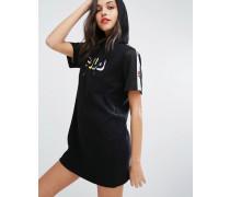 t Lässiges T-Shirt-Kleid mit Kapuze und Zierband Schwarz