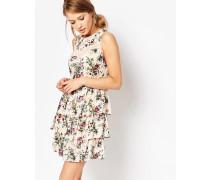 Gestuftes Kleid mit Spitzenborte Mehrfarbig