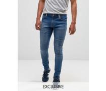 Brooklyn Supply Co Superenge Skinny-Jeans in Dyker Stone-Waschung Blau