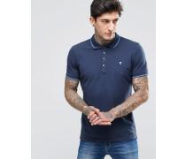 T-Skin Pikee-Polohemd mit Streifen an Kragen und an den Ärmelabschlüssen Marineblau