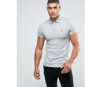 Graues Muskelpolohemd in schmaler Passform Grau