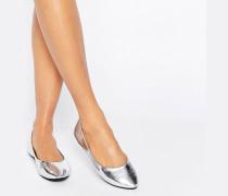 Silberfarbene Ballerinas Silber