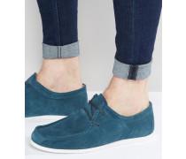 Wallabee Schuhe aus Wildleder in Smaragdgrün mit weißer Sohle Blau