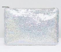 Clutch mit schimmernden Pailletten Silber