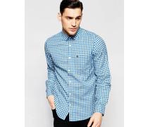 Kariertes Hemd mit klassisch regulärem Schnitt Blau