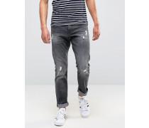 Schmale Jeans im Used-Look Grau