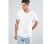 T-Shirt mit Bahnendesign, Tasche und abgerundetem Saum Weiß