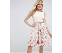 Closet Kleid mit Gürtel und floralem Rock Mehrfarbig