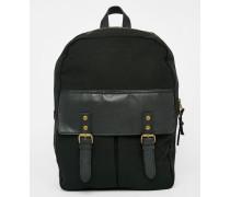 Rucksack mit Kontrasttasche Schwarz