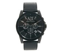 AX2098 Chronograph-Uhr mit schwarzem Lederarmband Schwarz