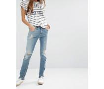 Naomi Gerade geschnittene Destroyed-Jeans mit Fransensaum Blau