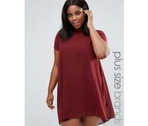Plus Ausgestelltes Kleid mit transparenten Einsätzen Rot