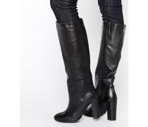 Kniehohe Stiefel mit Absatz Schwarz