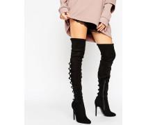 KARIANNE Overknee-Stiefel mit mehreren Riemen Schwarz