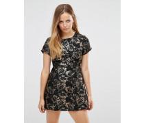 Adrettes Kleid mit Jacquard-Blumenmuster Schwarz