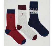 Fairisle-Socken im 3er-Pack Marineblau