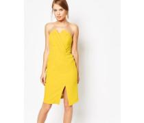 Strukturiertes Bandeau-Kleid Gelb