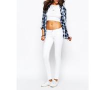 Superenge, hüfthohe Jeans Weiß