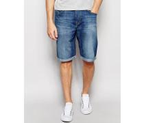 Jeansshorts mit 5 Taschen, gerader Passform und mittelblauer Collective-Waschung Blau