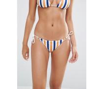 Gestreifte String-Bikinihose Mehrfarbig