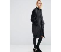 Langer Mantel mit kontrastierenden Samtärmeln Schwarz