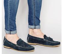 Marineblaue Wildleder-Loafer mit Fransen Blau