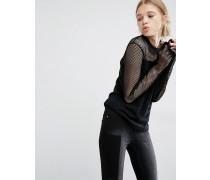 Pullover aus Netzstoff Schwarz