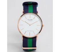 Uhr mit gestreiftem Leinenarmband in Marine/Grün Blau