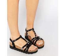 T-Steg-Sandalen mit flacher Plateausohle Schwarz